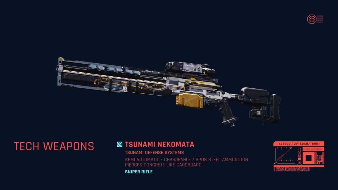 Tech Weapons 2 Cyberpunk 2077 weapons guide Power Weapon
